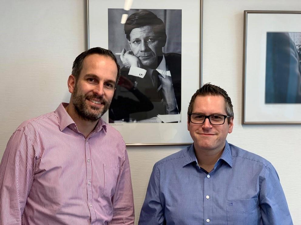 Vorsitzender Sascha Solbach und damaliger Europaabgeordneter Arndt Kohn in Verbindung mit seiner Teilnahme an der IPZ-Vorstandssitzung am 18. Januar 2019
